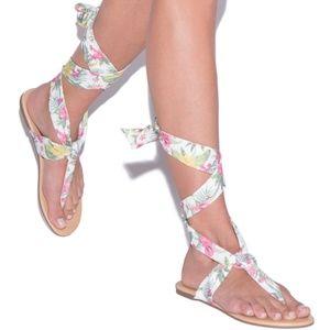 SHOEDAZZLE Elissa Tropical Lace Up Sandal